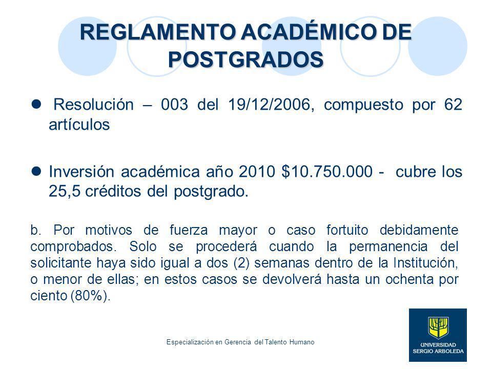 REGLAMENTO ACADÉMICO DE POSTGRADOS Resolución – 003 del 19/12/2006, compuesto por 62 artículos Inversión académica año 2010 $10.750.000 - cubre los 25