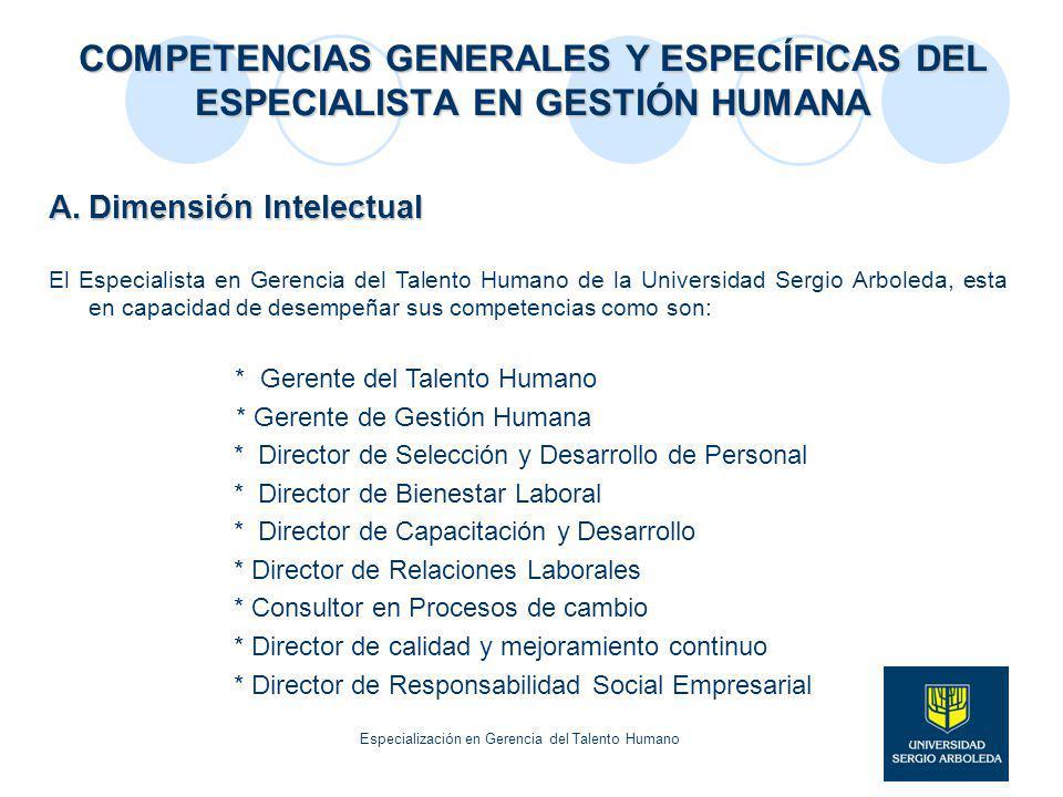 COMPETENCIAS GENERALES Y ESPECÍFICAS DEL ESPECIALISTA EN GESTIÓN HUMANA A.Dimensión Intelectual El Especialista en Gerencia del Talento Humano de la U
