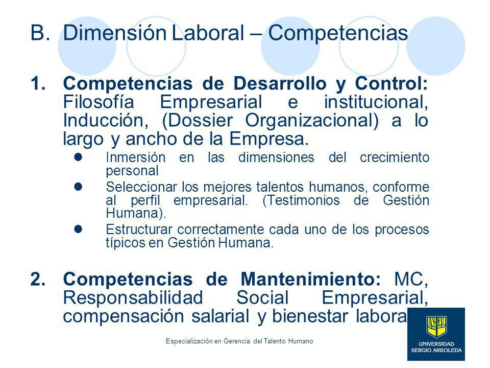 B.Dimensión Laboral – Competencias 1.Competencias de Desarrollo y Control: Filosofía Empresarial e institucional, Inducción, (Dossier Organizacional)