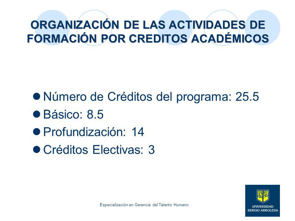 ORGANIZACIÓN DE LAS ACTIVIDADES DE FORMACIÓN POR CREDITOS ACADÉMICOS Número de Créditos del programa: 25.5 Básico: 8.5 Profundización: 14 Créditos Ele