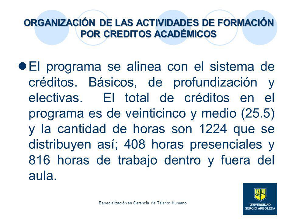 ORGANIZACIÓN DE LAS ACTIVIDADES DE FORMACIÓN POR CREDITOS ACADÉMICOS El programa se alinea con el sistema de créditos. Básicos, de profundización y el