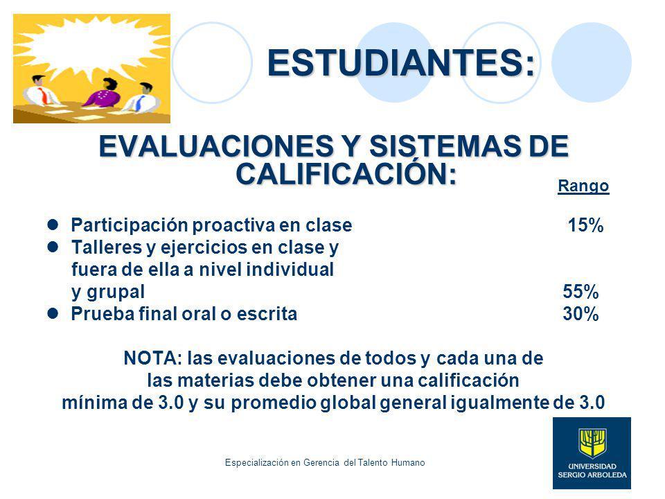 ESTUDIANTES: EVALUACIONES Y SISTEMAS DE CALIFICACIÓN: Participación proactiva en clase 15% Talleres y ejercicios en clase y fuera de ella a nivel indi