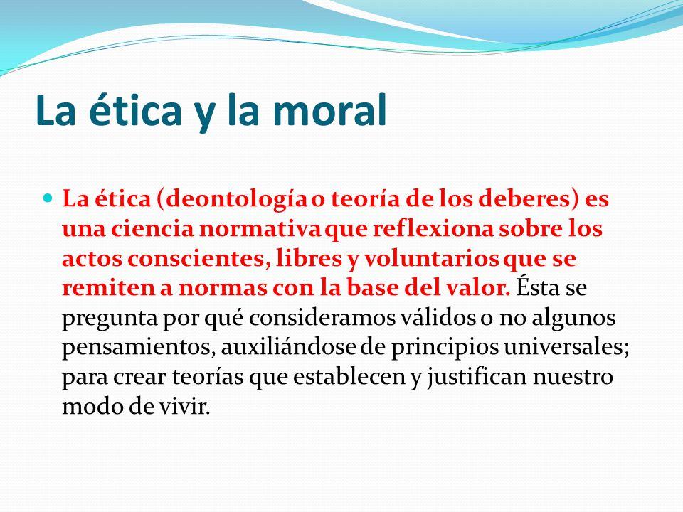 La ética y la moral A pesar de la similitud las podemos diferenciar, pues la ética se encarga de reflexionar sobre la moral, que es un conjunto de juicios relativos sobre el bien y el mal que dirige la conducta humana.
