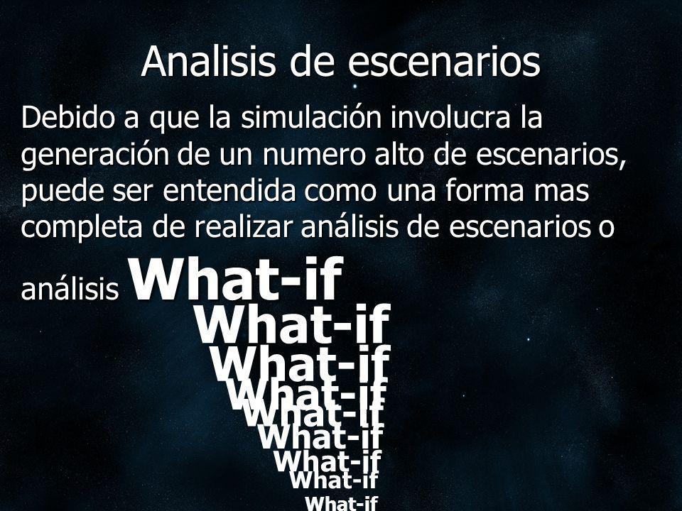 Analisis de escenarios Debido a que la simulación involucra la generación de un numero alto de escenarios, puede ser entendida como una forma mas comp