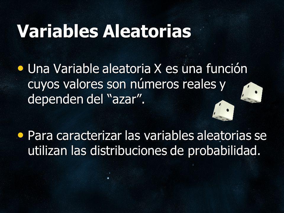 Variables Aleatorias Una Variable aleatoria X es una función cuyos valores son números reales y dependen del azar. Una Variable aleatoria X es una fun