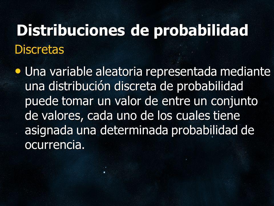 Distribuciones de probabilidad Continuas Una variable aleatoria representada mediante una distribución continua de probabilidad puede tomar cualquier valor dentro de un rango determinado.