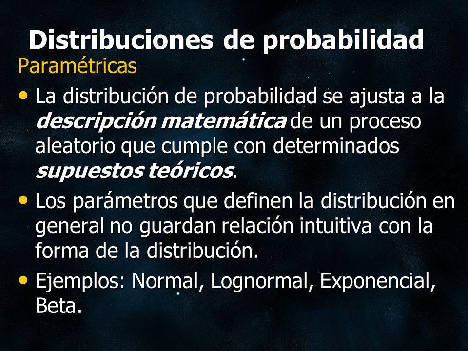 Distribuciones de probabilidad Paramétricas La distribución de probabilidad se ajusta a la descripción matemática de un proceso aleatorio que cumple c