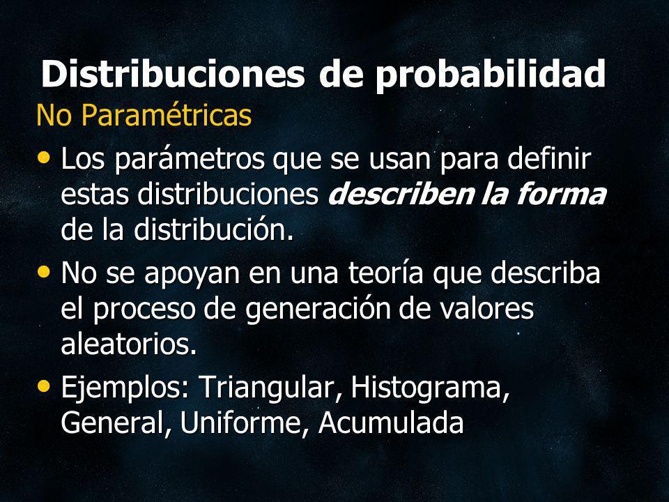 Distribuciones de probabilidad No Paramétricas Los parámetros que se usan para definir estas distribuciones describen la forma de la distribución. Los
