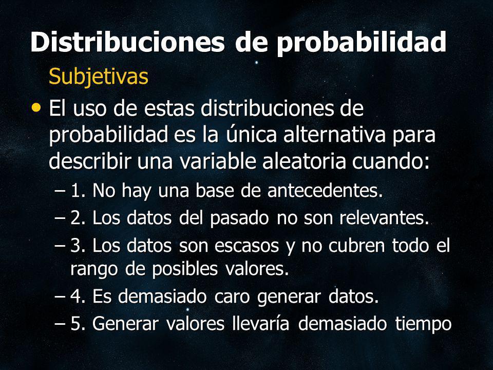 Distribuciones de probabilidad Subjetivas El uso de estas distribuciones de probabilidad es la única alternativa para describir una variable aleatoria