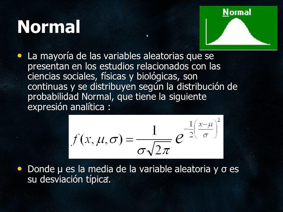 Normal La distribución de probabilidad Normal, tiene forma de campana Para una variable aleatoria X, que se distribuye normalmente con media : μ y desviación típica : σ, la probabilidad de que la variable X esté comprendida entre los valores a y b es el área teñida de rojo en la siguiente figura