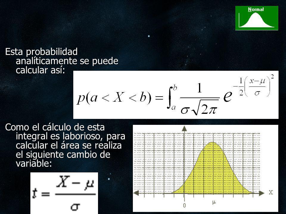 Esta probabilidad analíticamente se puede calcular así: Como el cálculo de esta integral es laborioso, para calcular el área se realiza el siguiente c