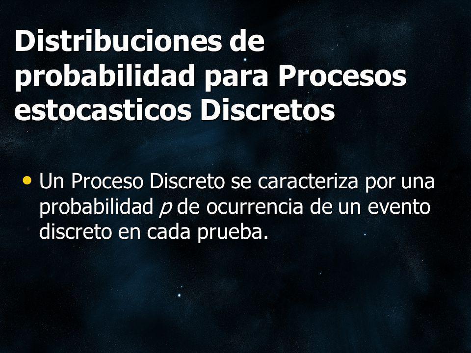 Distribuciones de probabilidad para Procesos estocasticos Discretos Un Proceso Discreto se caracteriza por una probabilidad p de ocurrencia de un even