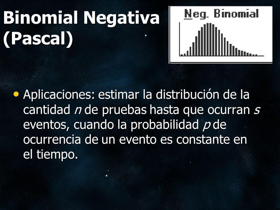 Binomial Negativa (Pascal) Aplicaciones: estimar la distribución de la cantidad n de pruebas hasta que ocurran s eventos, cuando la probabilidad p de