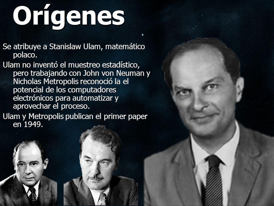 Orígenes Se atribuye a Stanislaw Ulam, matemático polaco. Ulam no inventó el muestreo estadístico, pero trabajando con John von Neuman y Nicholas Metr