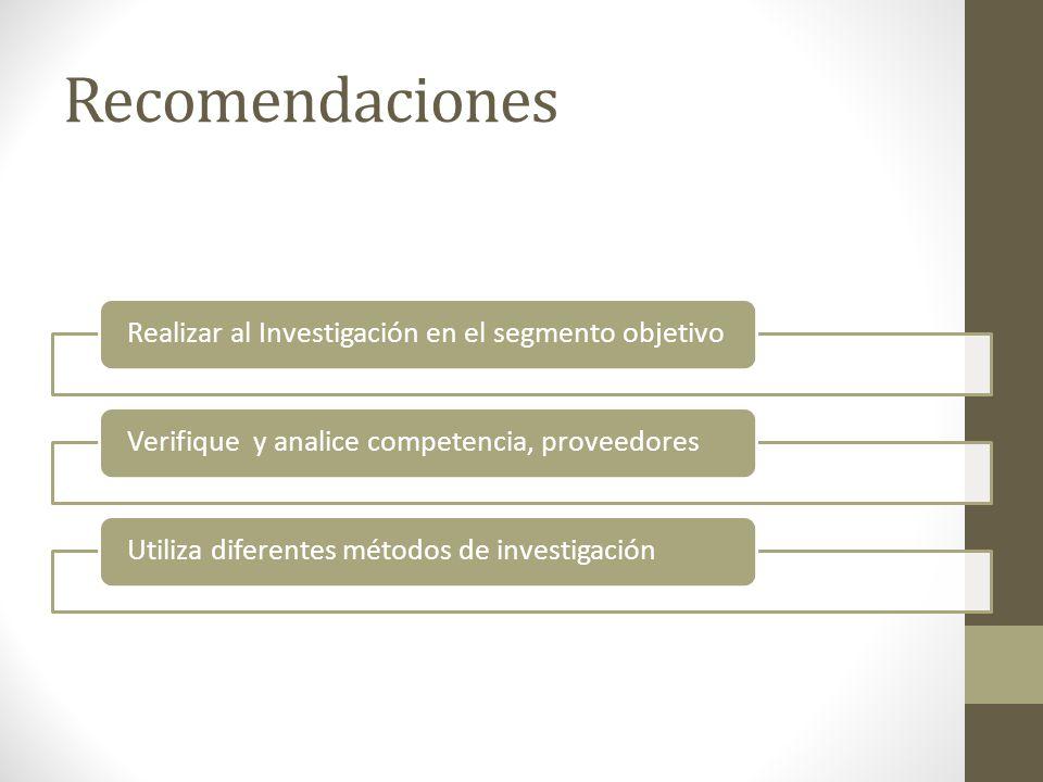 Recomendaciones Realizar al Investigación en el segmento objetivoVerifique y analice competencia, proveedoresUtiliza diferentes métodos de investigación
