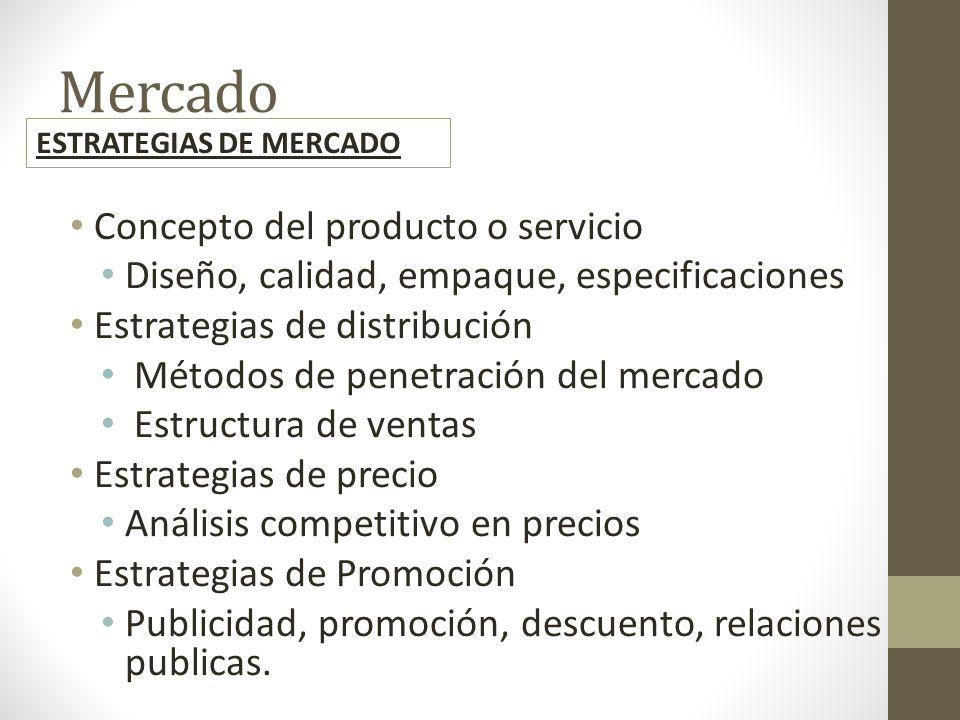 Mercado Concepto del producto o servicio Diseño, calidad, empaque, especificaciones Estrategias de distribución Métodos de penetración del mercado Estructura de ventas Estrategias de precio Análisis competitivo en precios Estrategias de Promoción Publicidad, promoción, descuento, relaciones publicas.
