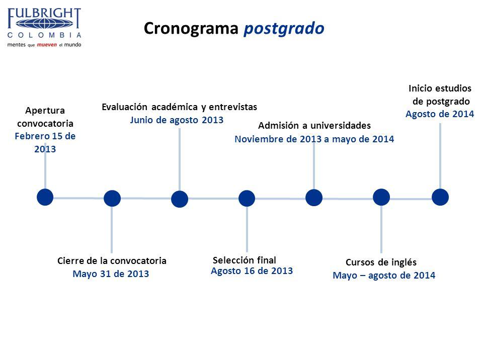 Cronograma postgrado Apertura convocatoria Febrero 15 de 2013 Cierre de la convocatoria Mayo 31 de 2013 Evaluación académica y entrevistas Junio de ag