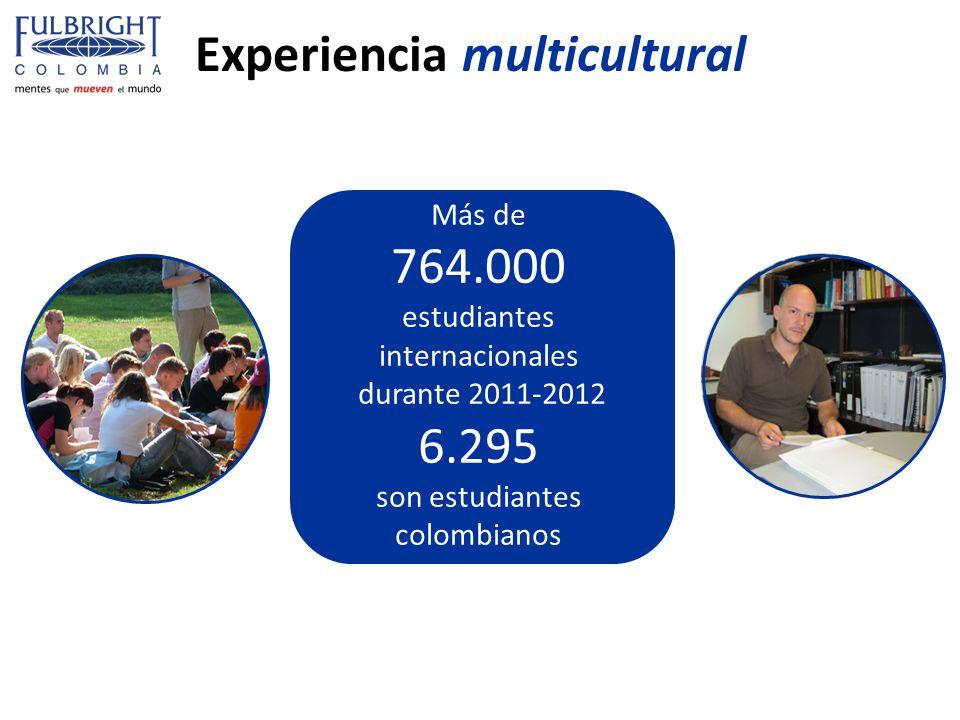 Experiencia multicultural Más de 764.000 estudiantes internacionales durante 2011-2012 6.295 son estudiantes colombianos