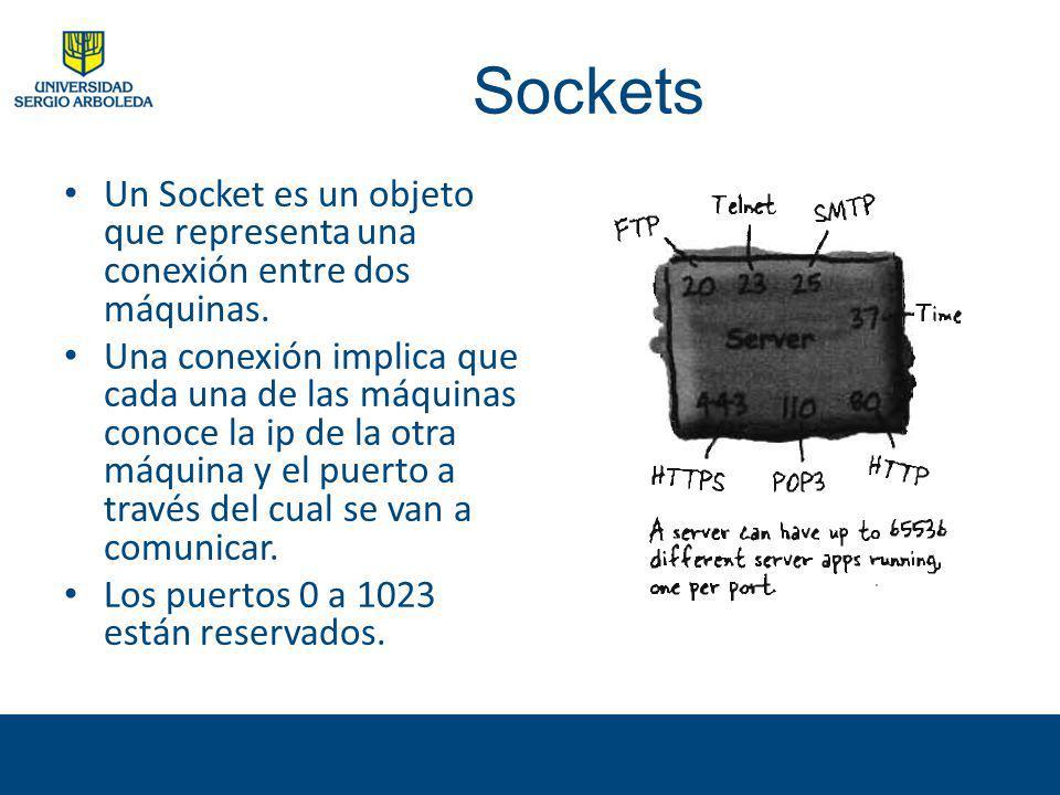 Sockets Un Socket es un objeto que representa una conexión entre dos máquinas. Una conexión implica que cada una de las máquinas conoce la ip de la ot