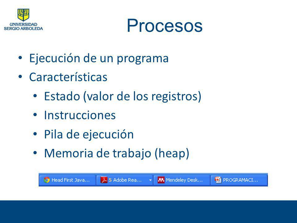Procesos Ejecución de un programa Características Estado (valor de los registros) Instrucciones Pila de ejecución Memoria de trabajo (heap)