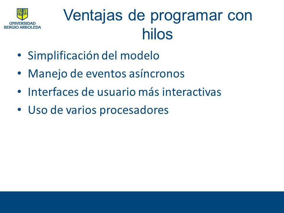 Ventajas de programar con hilos Simplificación del modelo Manejo de eventos asíncronos Interfaces de usuario más interactivas Uso de varios procesador