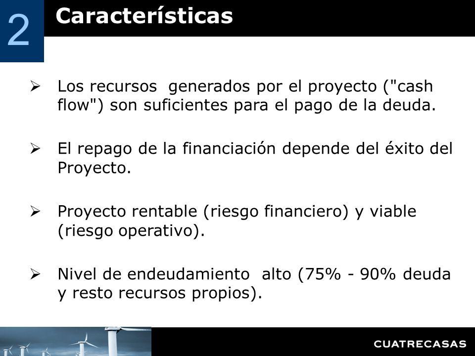 Características 2 Los recursos generados por el proyecto ( cash flow ) son suficientes para el pago de la deuda.