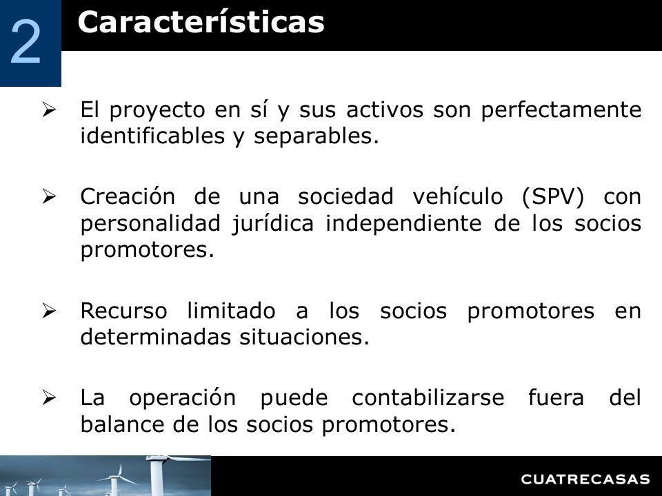 Características 2 El proyecto en sí y sus activos son perfectamente identificables y separables. Creación de una sociedad vehículo (SPV) con personali