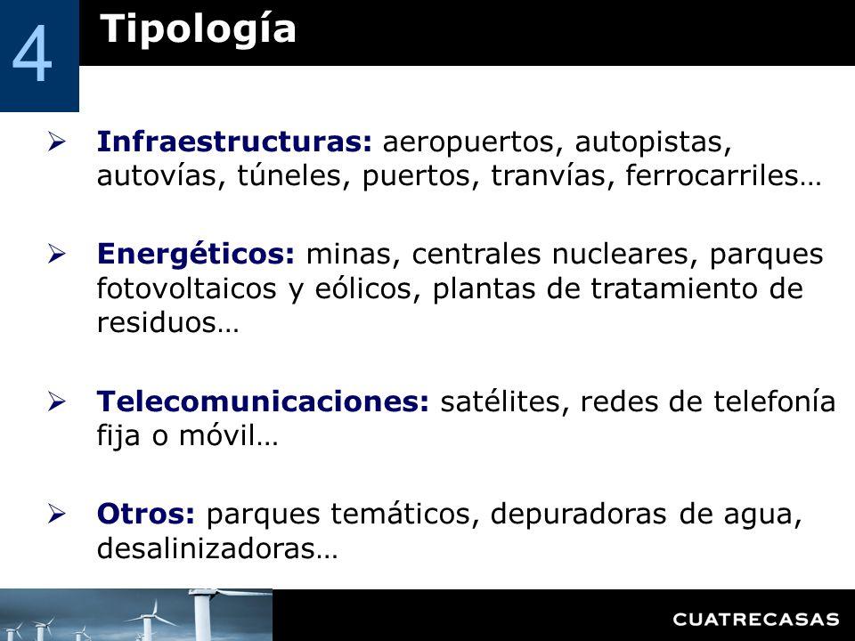 Tipología 4 Infraestructuras: aeropuertos, autopistas, autovías, túneles, puertos, tranvías, ferrocarriles… Energéticos: minas, centrales nucleares, p