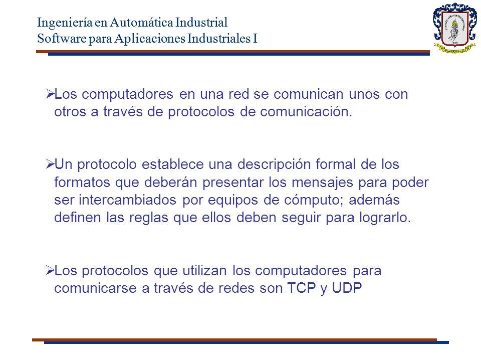 Ingeniería en Automática Industrial Software para Aplicaciones Industriales I Ingeniería en Automática Industrial Software para Aplicaciones Industriales I Los computadores en una red se comunican unos con otros a través de protocolos de comunicación.