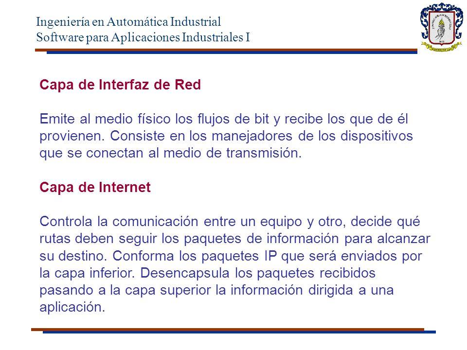 Ingeniería en Automática Industrial Software para Aplicaciones Industriales I Capa de Interfaz de Red Emite al medio físico los flujos de bit y recibe los que de él provienen.