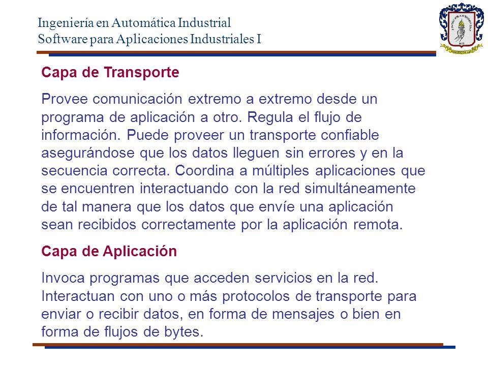 Ingeniería en Automática Industrial Software para Aplicaciones Industriales I Capa de Transporte Provee comunicación extremo a extremo desde un programa de aplicación a otro.