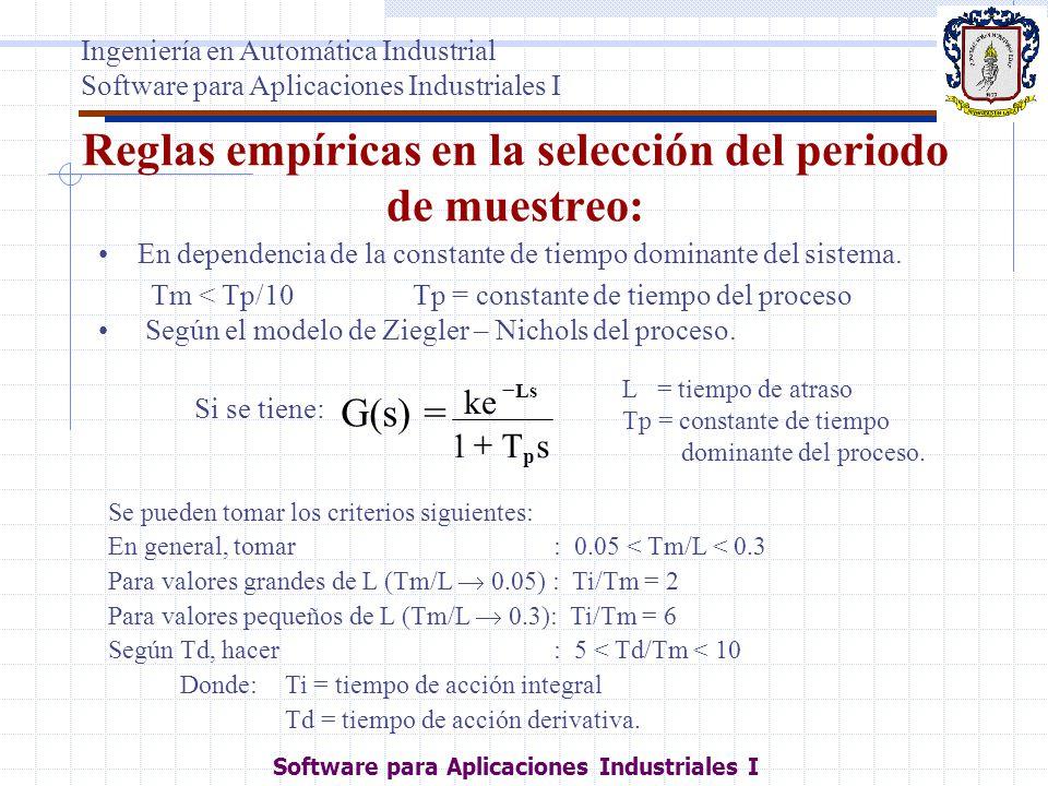 Reglas empíricas en la selección del periodo de muestreo: En dependencia de la constante de tiempo dominante del sistema. Tm < Tp/10Tp = constante de