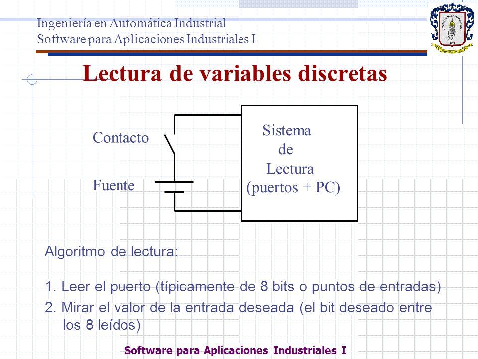 Lectura de variables discretas Algoritmo de lectura: 1. Leer el puerto (típicamente de 8 bits o puntos de entradas) 2. Mirar el valor de la entrada de