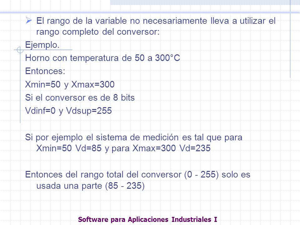 El rango de la variable no necesariamente lleva a utilizar el rango completo del conversor: Ejemplo. Horno con temperatura de 50 a 300°C Entonces: Xmi