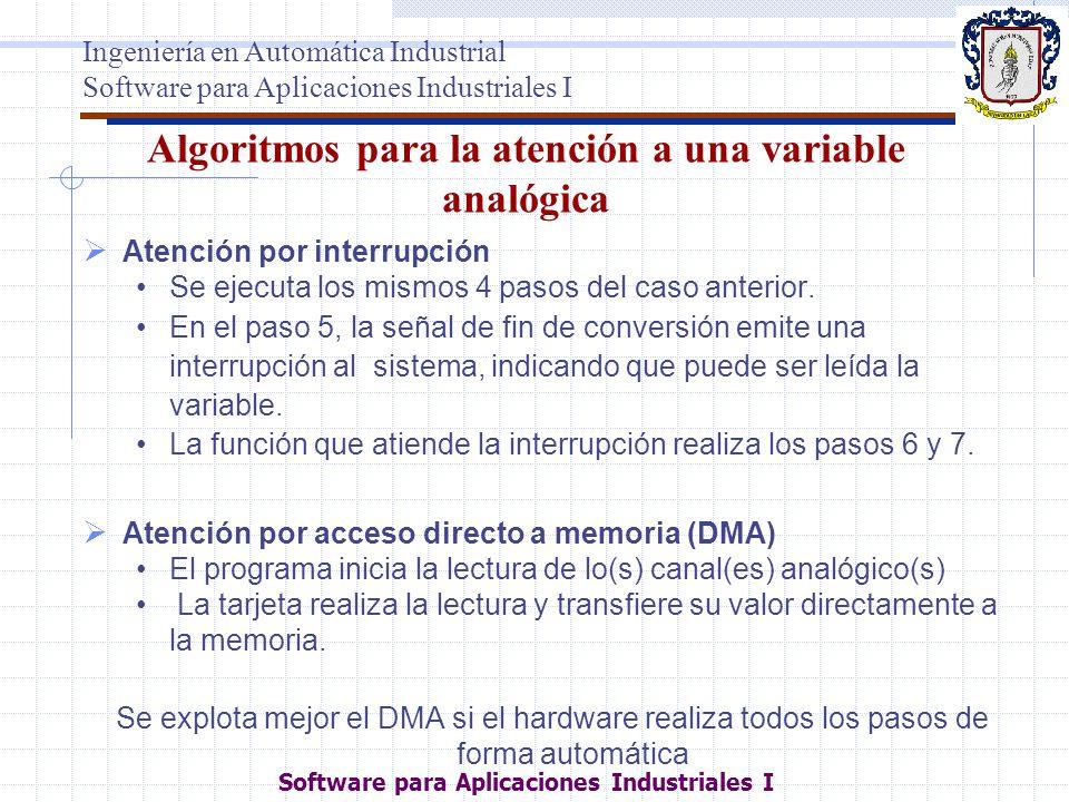 Algoritmos para la atención a una variable analógica Atención por interrupción Se ejecuta los mismos 4 pasos del caso anterior. En el paso 5, la señal