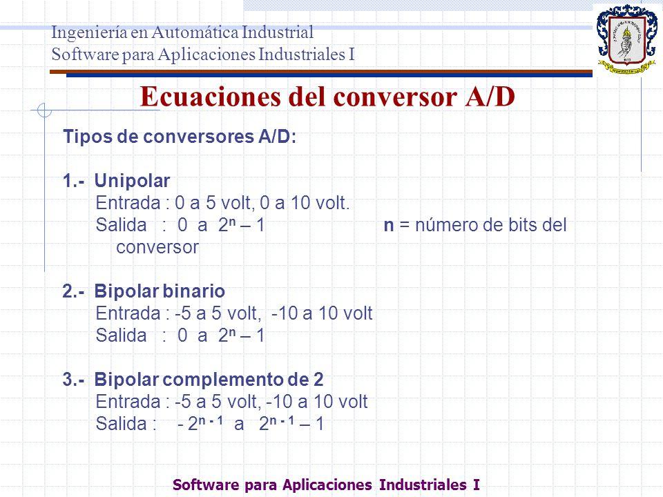 Ecuaciones del conversor A/D Tipos de conversores A/D: 1.- Unipolar Entrada : 0 a 5 volt, 0 a 10 volt. Salida : 0 a 2 n – 1 n = número de bits del con