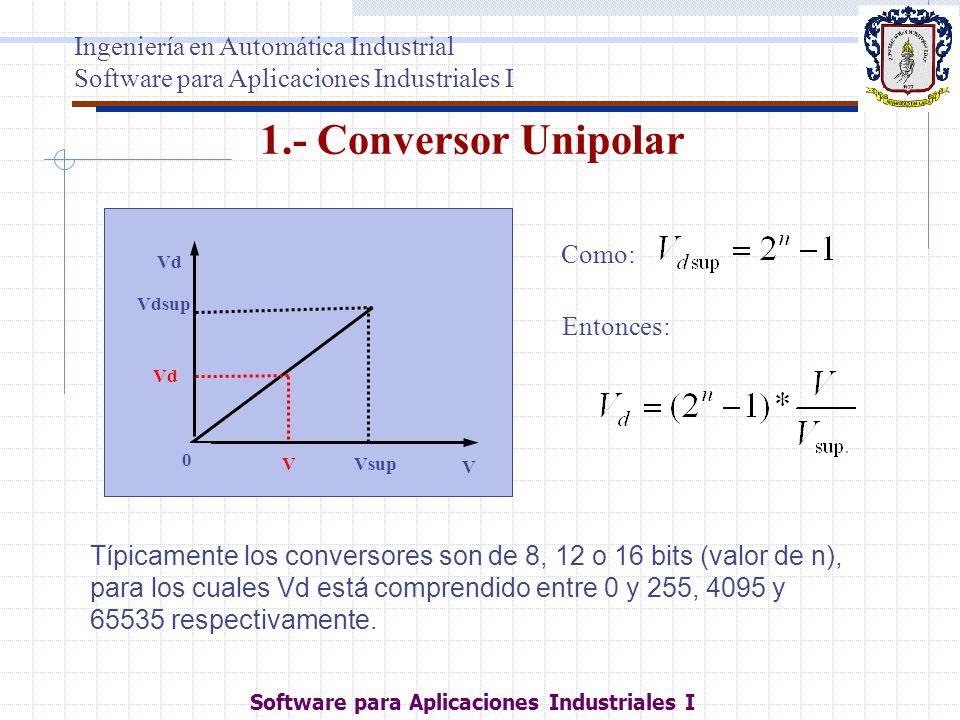 1.- Conversor Unipolar Vd Vdsup V 0 VsupV Vd Típicamente los conversores son de 8, 12 o 16 bits (valor de n), para los cuales Vd está comprendido entr