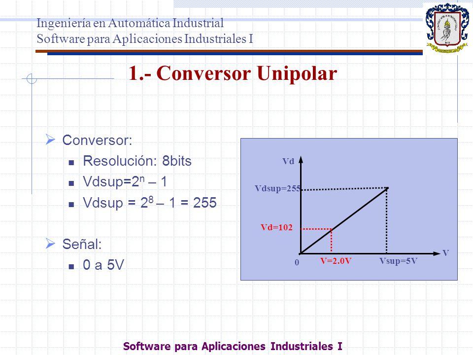 1.- Conversor Unipolar Conversor: Resolución: 8bits Vdsup=2 n – 1 Vdsup = 2 8 – 1 = 255 Señal: 0 a 5V Vd Vdsup=255 V 0 Vsup=5VV=2.0V Vd=102 Ingeniería