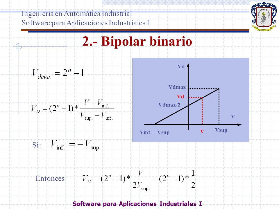 2.- Bipolar binario Vinf = -Vsup Vsup Vd Vdmax Vdmax/2 V V Vd Si: Entonces: Ingeniería en Automática Industrial Software para Aplicaciones Industriale