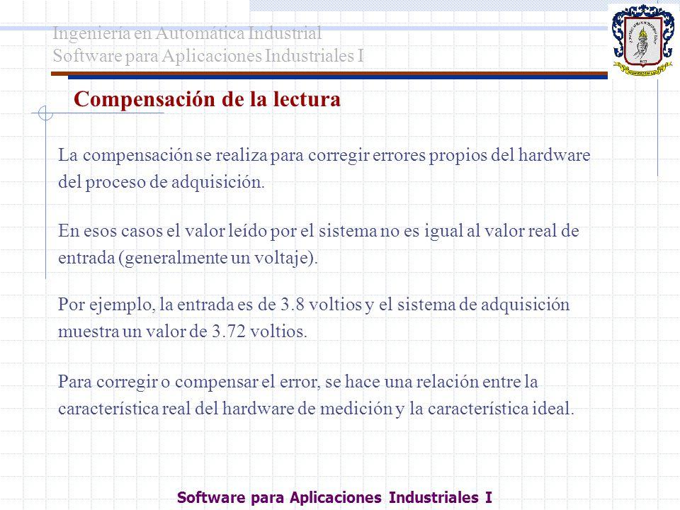 Compensación de la lectura Para corregir o compensar el error, se hace una relación entre la característica real del hardware de medición y la caracte