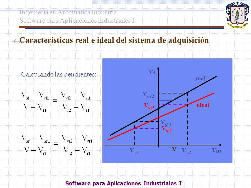 Características real e ideal del sistema de adquisición Calculando las pendientes: V r1 V r2 Vin V sr2 Vs V sr1 ideal real V si2 V si1 V Ingeniería en