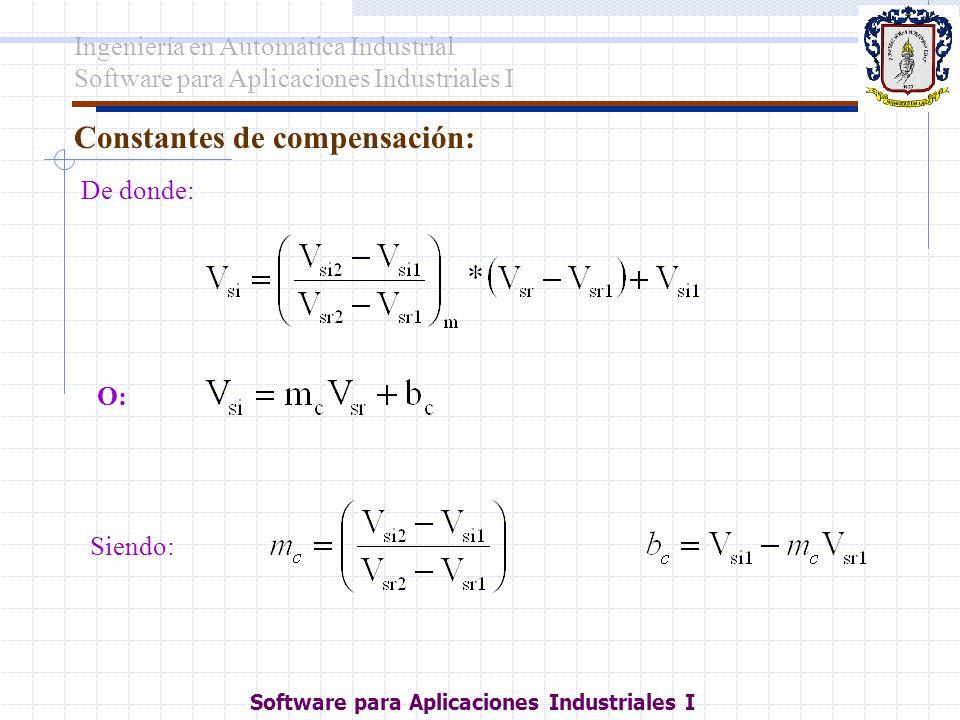 Constantes de compensación: De donde: O: Siendo: Ingeniería en Automática Industrial Software para Aplicaciones Industriales I
