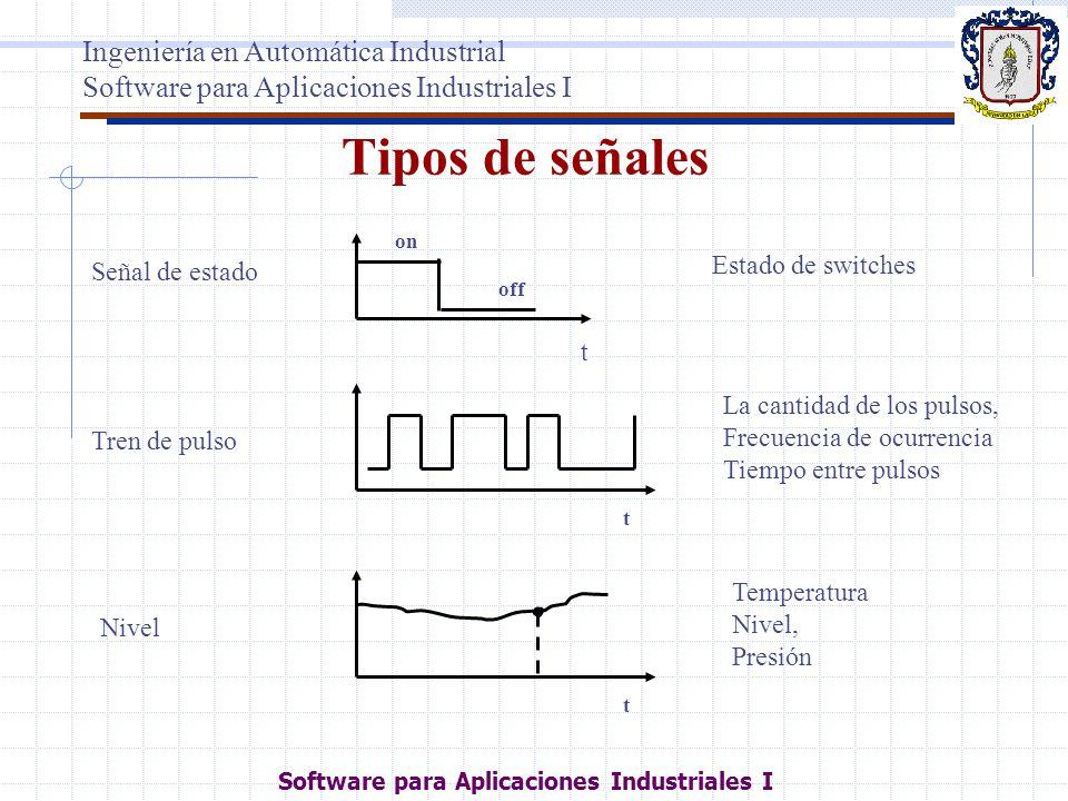 Tipos de señales t Tren de pulso La cantidad de los pulsos, Frecuencia de ocurrencia Tiempo entre pulsos t Nivel Temperatura Nivel, Presión Señal de e