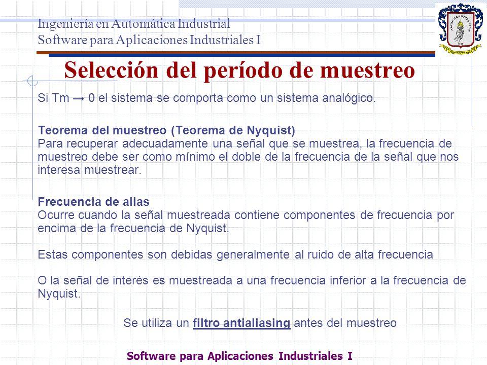Selección del período de muestreo Si Tm 0 el sistema se comporta como un sistema analógico. Teorema del muestreo (Teorema de Nyquist) Para recuperar a