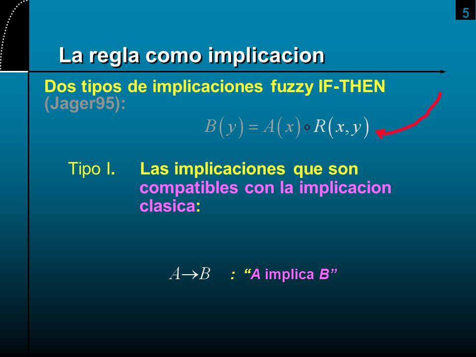 5 La regla como implicacion Dos tipos de implicaciones fuzzy IF-THEN (Jager95): Tipo I. Las implicaciones que son compatibles con la implicacion clasi