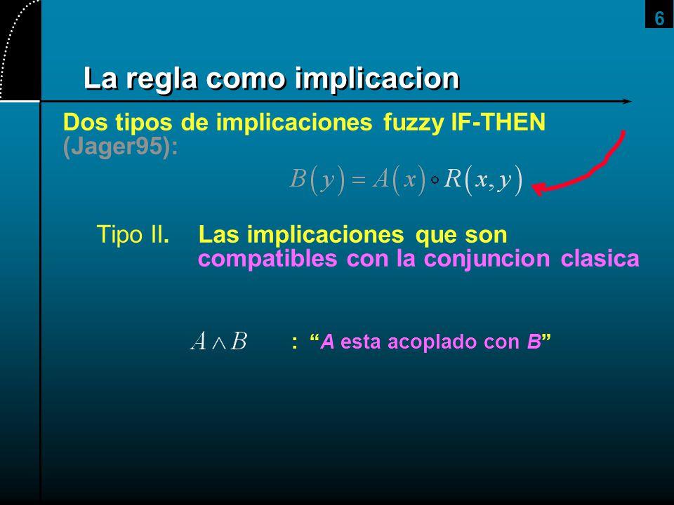 6 La regla como implicacion Dos tipos de implicaciones fuzzy IF-THEN (Jager95): Tipo II. Las implicaciones que son compatibles con la conjuncion clasi