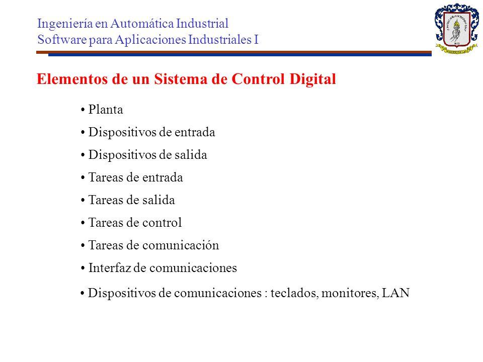 Elementos de un Sistema de Control Digital Planta Dispositivos de entrada Dispositivos de salida Tareas de salida Tareas de entrada Tareas de control
