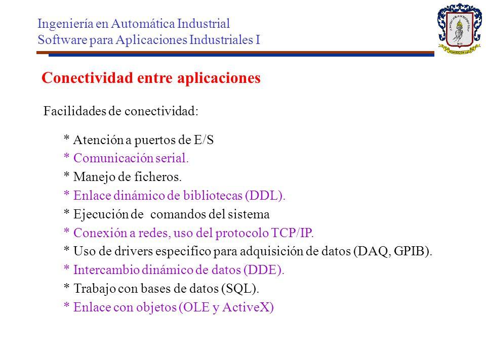 Conectividad entre aplicaciones Facilidades de conectividad: * Atención a puertos de E/S * Comunicación serial. * Manejo de ficheros. * Enlace dinámic
