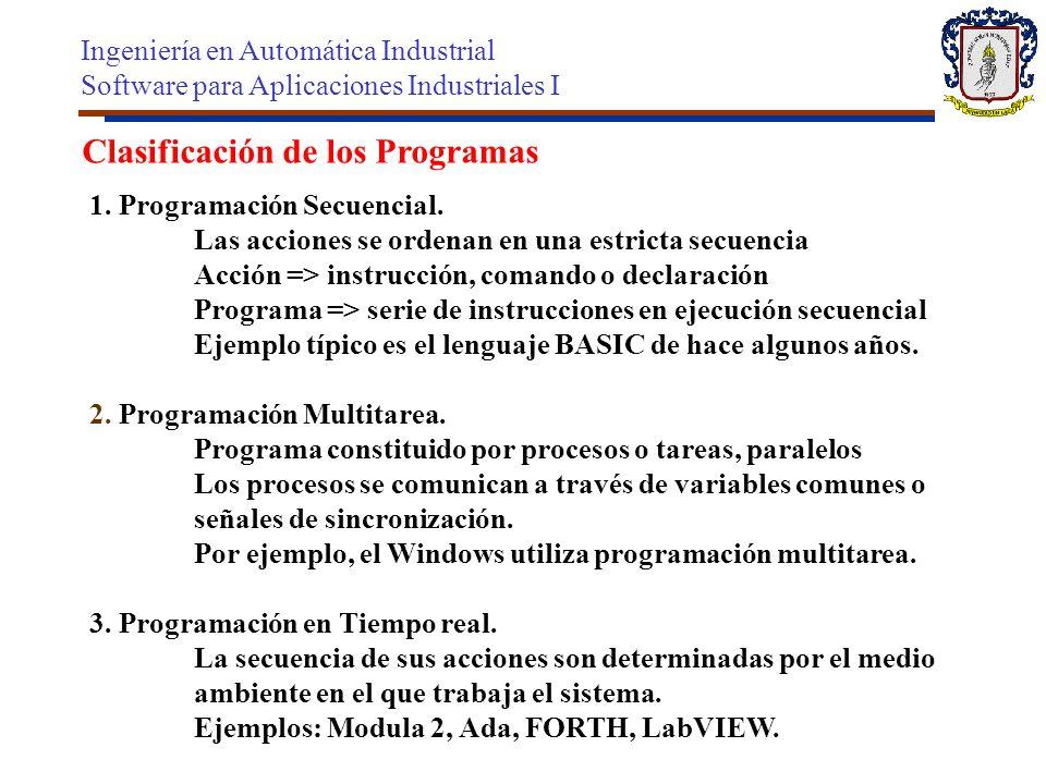 Clasificación de los Programas 1. Programación Secuencial. Las acciones se ordenan en una estricta secuencia Acción => instrucción, comando o declarac