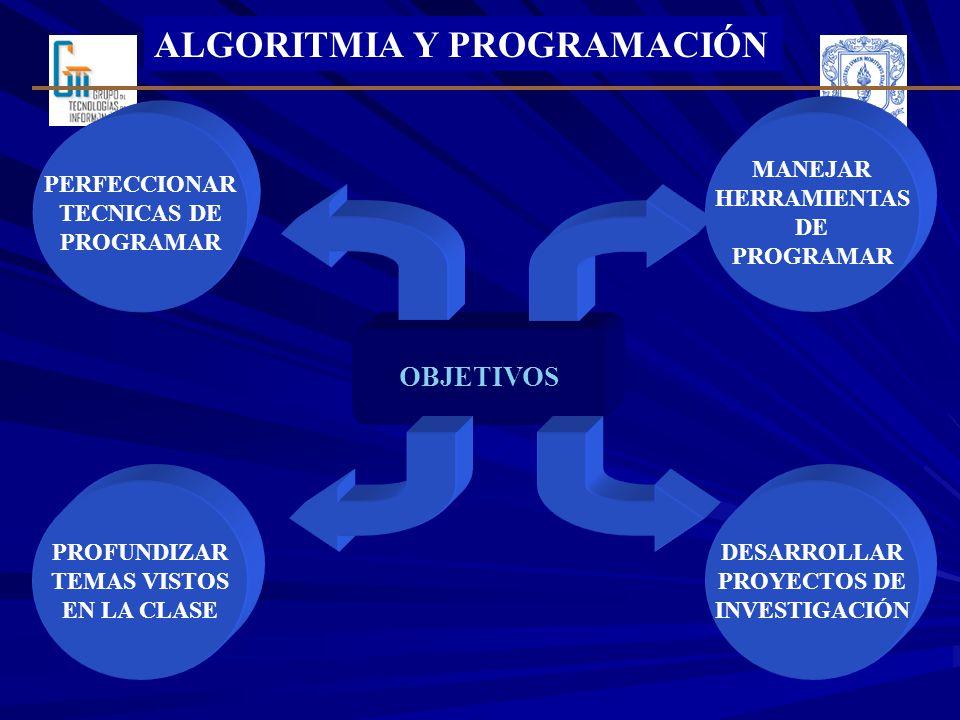 ALGORITMIA Y PROGRAMACIÓN PERFECCIONAR TECNICAS DE PROGRAMAR OBJETIVOS MANEJAR HERRAMIENTAS DE PROGRAMAR DESARROLLAR PROYECTOS DE INVESTIGACIÓN PROFUNDIZAR TEMAS VISTOS EN LA CLASE